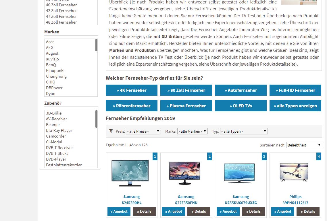 Amazon Nischenseite Beispiel
